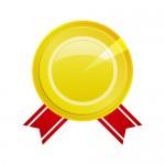 赤い帯が下にあるゴールドの受賞メダルイラスト