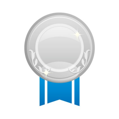 青い帯が下にあるシルバーメダルのイラスト素材