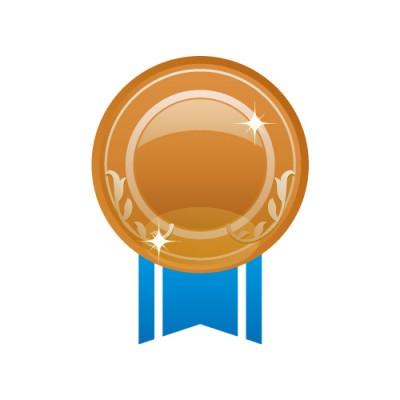 青い帯が下にあるブロンズメダルのイラスト素材