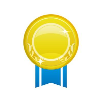 青い帯が組み合わさるゴールドメダルのイラスト素材