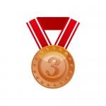 3の数字が入った銅メダルのイラスト素材