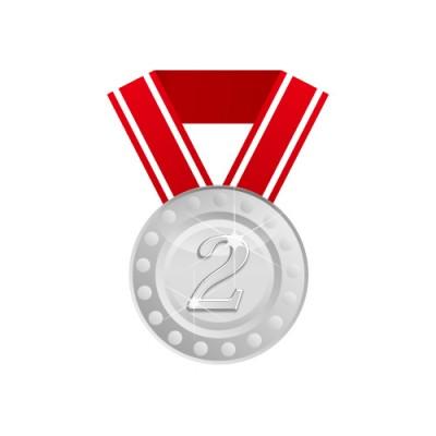 2の数字が入った銀メダルのイラスト素材