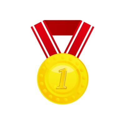 1の数字が入った金メダルのイラスト素材