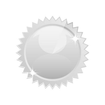 周りがギザギザのシンプルなシルバーメダルイラスト