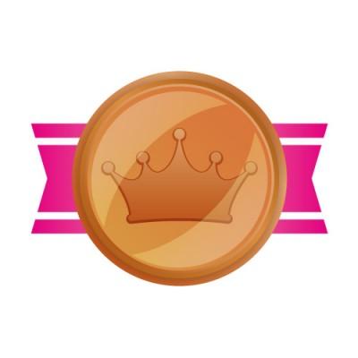 王冠のマークがあしらわれた銅メダルイラスト素材