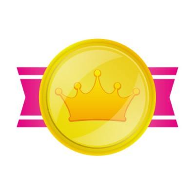 両端のピンクの帯のある金メダルのイラスト