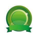 緑色のリボンとメダルアイコンセットイラスト素材