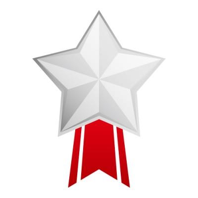 星形のシルバーメダルイラスト