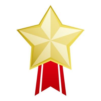 星形のゴールドメダルイラスト