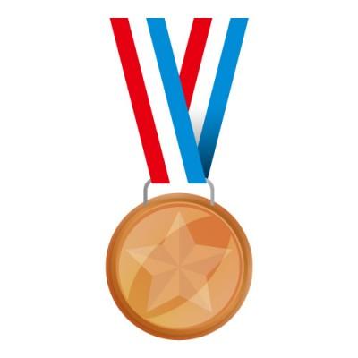赤・白・青の帯がついた銅メダルイラスト