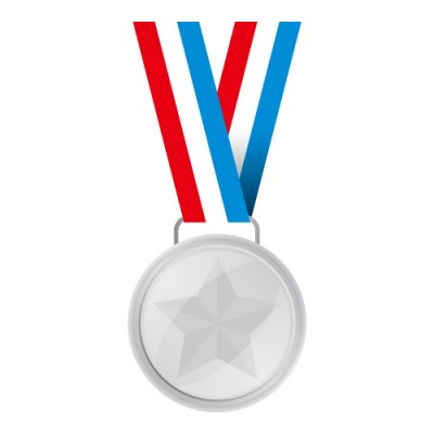 赤・白・青の帯がついた銀メダルイラスト