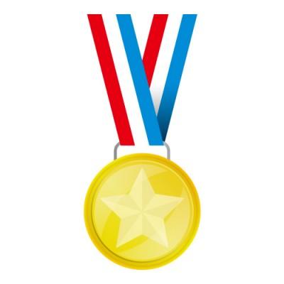 赤・白・青の帯がついた金メダルイラスト