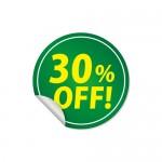 30%OFFと書かれた緑色の割引ステッカーシール