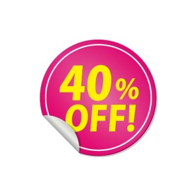 40%OFFと書かれたピンク色の割引ステッカー