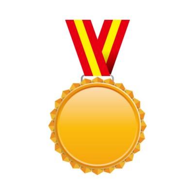 赤と黄色の帯がついたギザギザのブロンズメダルイラスト