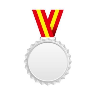 赤と黄色の帯がついたギザギザのシルバーメダル