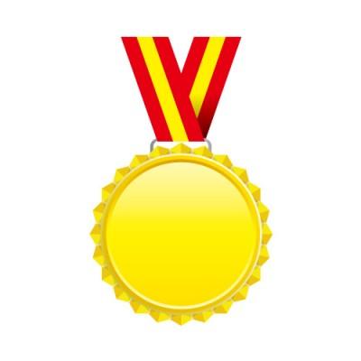 赤と黄色の帯がついたギザギザのゴールドメダル