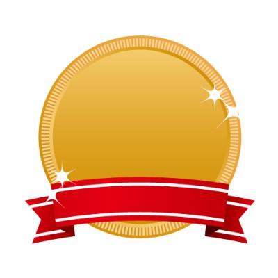 入賞表示に最適な赤いリボンのついた銅メダルイラスト