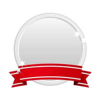 受賞表示に最適な赤いリボンのついた銀メダルイラスト