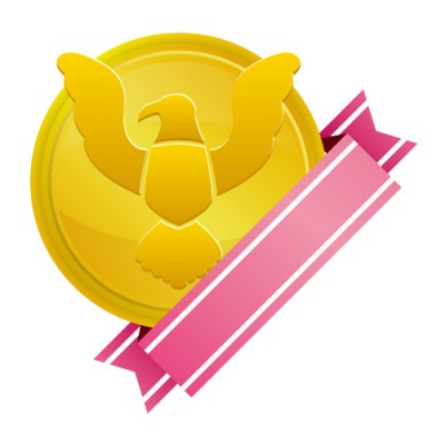 鷲のイラストアイコンが入ったゴールドメダル