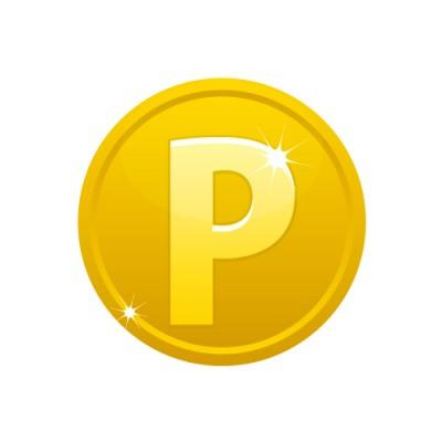 Pのアルファベットが入ったメダルコイン