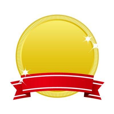金賞表示に最適な赤いリボンのついた金メダルアイコンイラスト