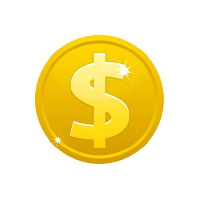 $(ドル)のマークの入ったメダルコインイラスト