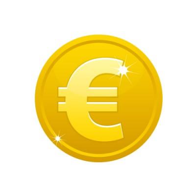 €(ユーロ)のマークの入ったメダルコインイラスト