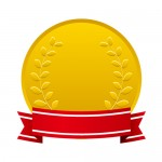 草のモチーフの入ったリボン付きメダル