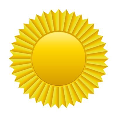 菊の紋章のようなゴールドメダルイラスト
