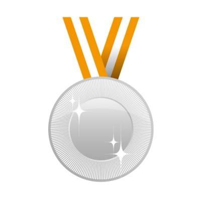キラリと光る銀色メダルイラスト