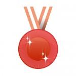 赤色のメダルイラスト