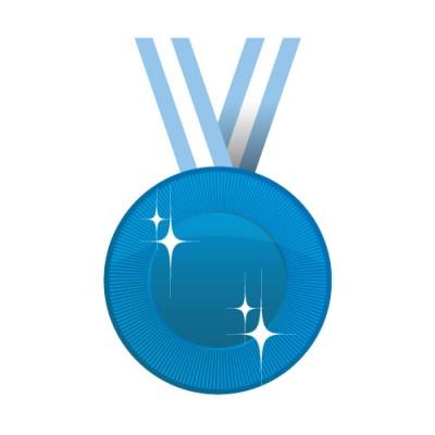 青いメダルイラスト