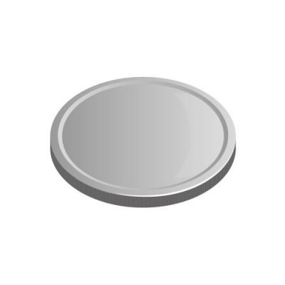 下に置かれた銀色のメダルコインイラスト
