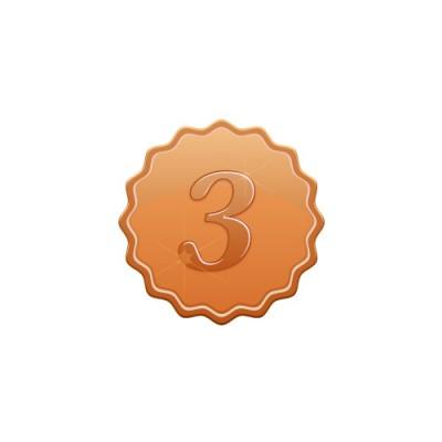 3の数字の入り、やわらかな角のあるブロンズメダルイラスト