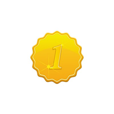 1の数字の入り、やわらかな角のあるゴールドメダルイラスト