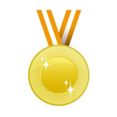 オレンジの帯がかかる金メダルイラスト