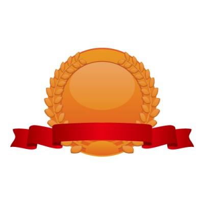 月桂冠の飾られた銅メダルイラスト