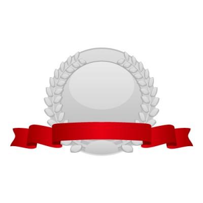 月桂冠の飾られた赤いリボン付き銀メダルイラスト