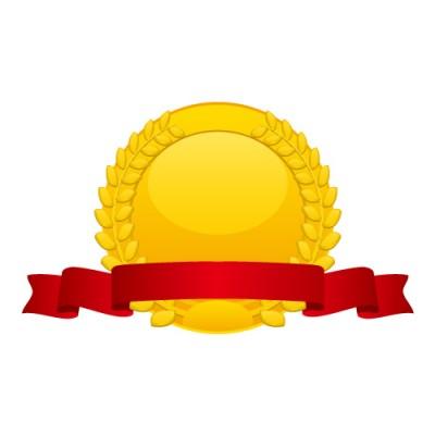 月桂冠の飾られた赤いリボン付き金メダルイラスト