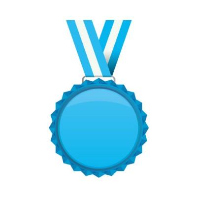 青いメダルのイラスト