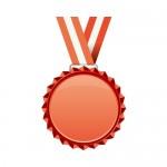赤色のギザギザメダルのイラスト