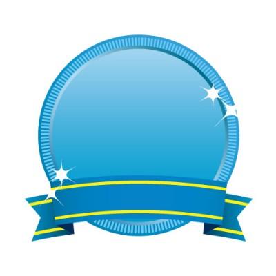 青色の丸いメダルのイラスト