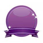 紫のリボン付きメダルのイラスト