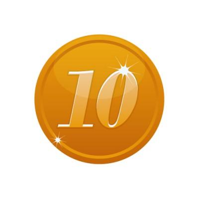 10の数字が入ったブロンズコインのイラスト
