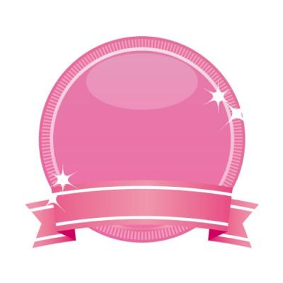 ピンク色のリボン付きメダルのイラスト