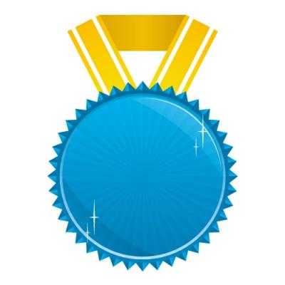 キラっとテカりのある青いメダルイラスト