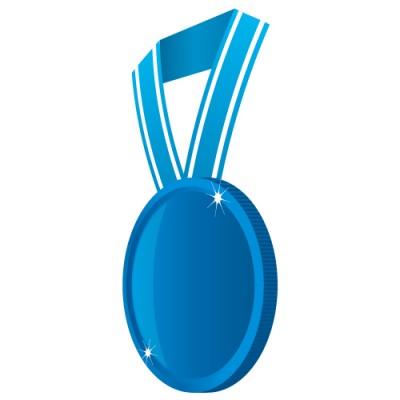 横の角度から見た青いメダルイラスト