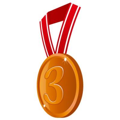 横の角度から見た3の数字が入った銅色のメダルイラスト