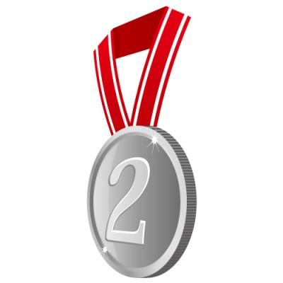 横の角度から見た2の数字が入った銀色のメダルイラスト